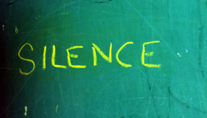 silence written on chalkboard