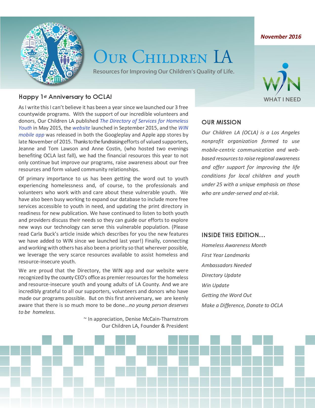OCLA Newsletter - November 2016